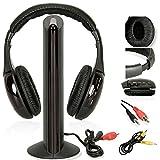 New 5in 1Headset Wireless Kopfhörer schnurlose RF mit Mikrofon für PC TV DVD CD MP3MP4