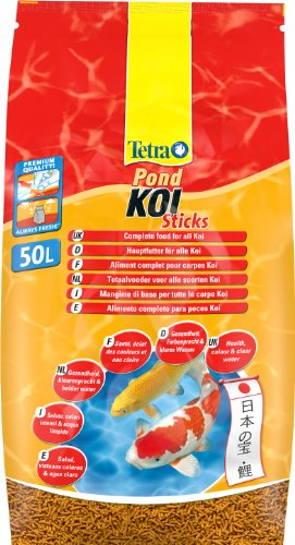 Tetra Pond Koi Sticks Hauptfutter (in Form hochwertiger, schwimmfähiger Futtersticks speziell für Koi entwickelt), 50 liters Beutel Stick Form