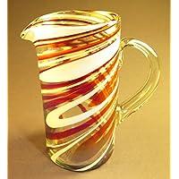 Hand Blown Glass Margarita or Juice Pitcher, Red White Swirl