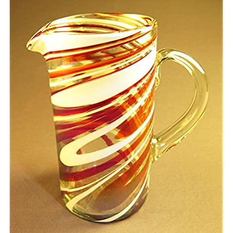 Hand Blown Glass Margarita or Juice Pitcher, Red White Swirl Design Straight 8 Cups by Mexican Glass
