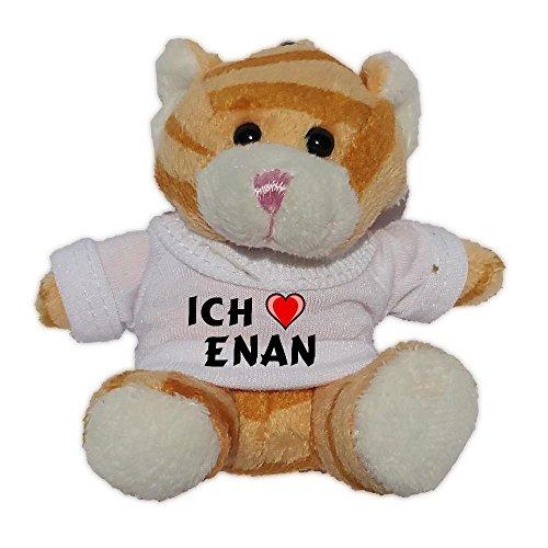 Preisvergleich Produktbild Plüsch Braun Katze Schlüsselhalter mit T-shirt mit Aufschrift Ich liebe Enan (Vorname/Zuname/Spitzname)