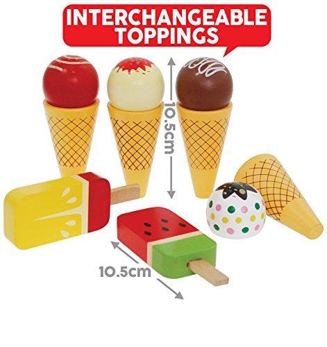 Bee Smart - Spielzeugset aus Holz Holz Eis Zapfen und Lollies Pretend Play Set, Stieleis und Eis in der Waffel, Set, magnetische, austauschbare Teile