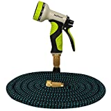 [Brass Connectors] KooPower 50 ft Expandable Garden Hose Pipe with Multi Spray Water Gun (No Kink or Leak)