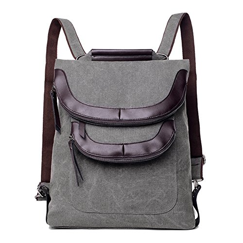 BYD - Donna Uomo Unisex School Bag zainetto backpack Travel Bag Canvas Bag Double Zipper Design Borse a mano Borse a spalla with Mutil Function Pocket Grigio