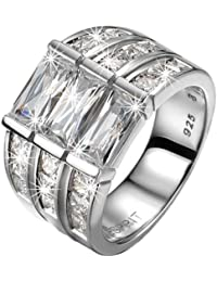 Esprit Collection Damen-Ring 925 Sterling Silber rhodiniert Kristall Zirkonia iocony glam weiß