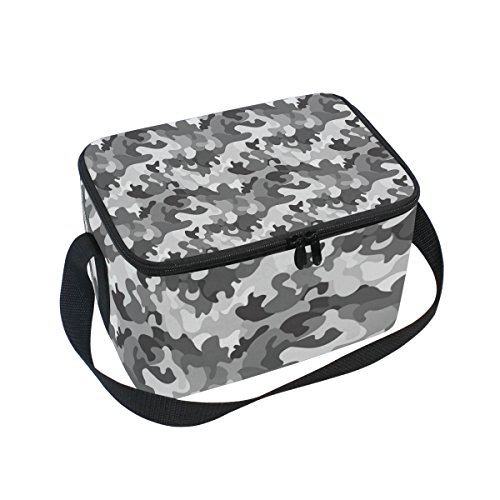 Camo Isolierte Lunch-box (doshine Camo Camouflage Muster Isolierte Lunch Box Tasche, Kühler Ice Lunch Tasche Wiederverwendbar für Männer Frauen Erwachsene Kinder Jungen Mädchen)