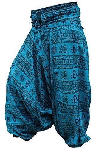 shopoholic fashion OM imprimé coupe ample Pantalon sarouel, SUPER CONFORT Pantalon de yoga, hippie - Turquise Bleu, Taille Unique, One Siz