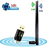 ANEWISH® USB WIFI 5dBi Antena Wifi 600mbps para Pc Adaptador Wifi USB 802.11ac Dual Band  2.4G / 5.8G Receptor Wifi Largo Alcance Dongle Wifi para Pc, Windows 10/8/7/ Vista/ XP/ 2000, Mac OS