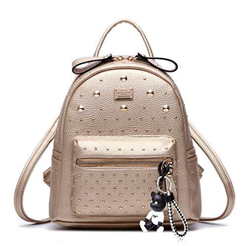 DEERWORD Damen Rucksackhandtaschen Schultertaschen Schulrucksack Tagesrucksack Laptoptasche Leder Gold -