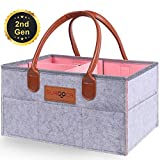 Diaper Caddy Organiser, Nappy Organiser, SURDOCA® [Portable Nursery Changing] Diaper Organiser, [Skin Frindly Leather handle] Nappy Caddy Organiser. [Large Basket] Baby Nappy Storage Grey-Pink