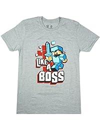 Mens Official Mojang Minecraft Steve Like a Boss T-Shirt Grey Size Small