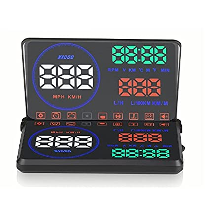 Head-Up-Display55-Zoll-Universal-HUD-Car-Auto-Head-Up-Display-OBD2-OBD-KM-RPMGeschwindigkeit-Temperatur-Kraftstoffverbrauch-Fahrstreckenmessung-Kopf-Oben-AnzeigeVarious-Auto-Alarmsystem