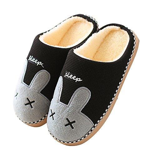 Minetom Unisexe Hiver Chaud Coton Pantoufles Mignon Lapin Chaussons Doux Confortable Rembourré Peluche Antidérapant Chaussures Homme Femme B-Noir