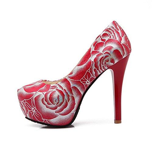 AllhqFashion Femme Matière Souple Rond à Talon Haut Tire Couleurs Mélangées Chaussures Légeres Rouge