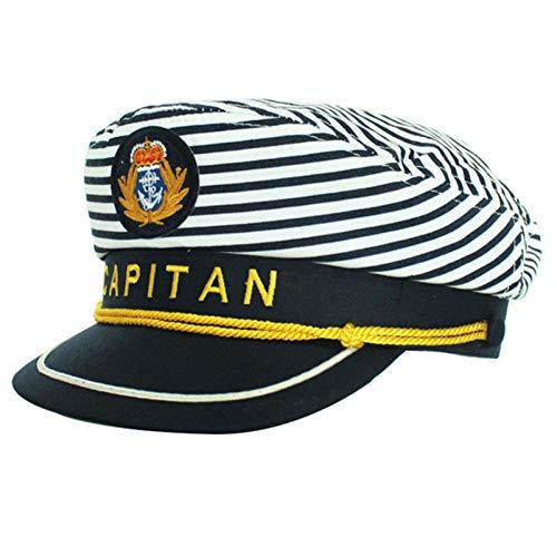 CGXBZA Erwachsener Kapitän Kostüm Boot Yacht Schiff Sailor Navy Kapitän Hut Party Cosplay Cap Sea Boating Nautische Kostüm (Heiße Gangster Kostüme)