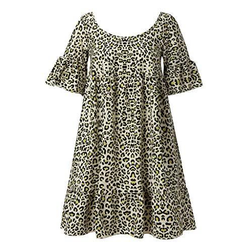 LUGOW Damen Blusen Weste Sommer T-Shirts Ärmellos Kurzarm Einfarbig Leopard Gedruckt Bluse Locker Oberteile Kurzarm Tunika Camisole Tank Tops Tee Shirts Kleid(XXX-Large,Gelb) -