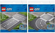 LEGO® City 2er Set 60236 60237 Gerade und T-Kreuzung + Kurve und Kreuzung