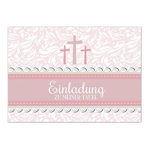 15 x Einladung zur Taufe / Einladungskarten mit Umschlag im Set / Motiv: Einladung 3 Kreuze Rosa für Mädchen / Baby Taufkarte / Grußkarte / Postkarte /