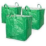 Navaris Sacchi per rifiuti da Giardino - Set 3X Sacco richiudibile - Cesto XXL raccogli Foglie Erba - Busta Resistente Giardinaggio 250 Litri Max 80kg