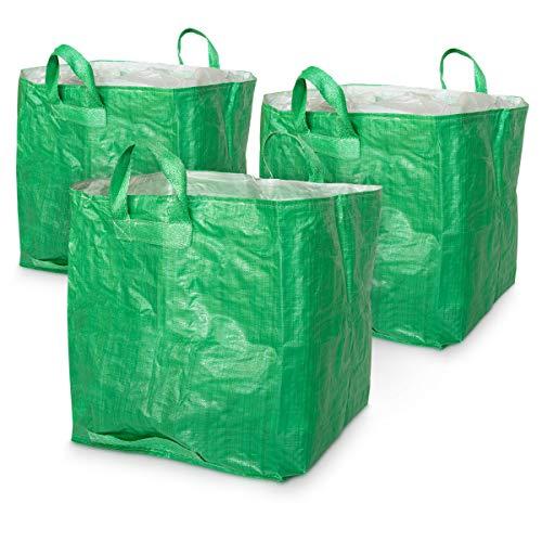 Navaris Set de 3X Sacos Reutilizables para jardín - Bolsa para desechos de jardinería - Resistentes Sacos con Cierre y Capacidad de hasta 80 Kilos