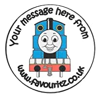 """PERSONALISED A4 Sheet of 15 x 50mm Round Glossy """"Thomas The Tank Engine"""" Design 2 Sticky Labels-Party Bag Seals, Invites etc..."""