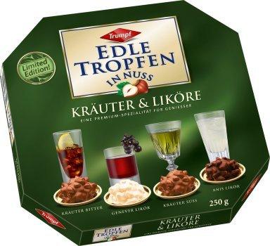 EDLE TROPFEN IN NUSS - KRÄUTER + LIKÖRE (250 g / 4 Kräuter + Likör Spezialitäten) ALKOHOL PRALINEN