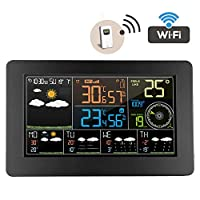 Wireless Weather Station with Outdoor Sensor Wireless, Anemometer Barometer Temperaturer Hygrometer 6 Kinds Weather Forecast Clock Alarm 12 Moon Phase Digital Display