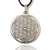 Gepardini Blume des Lebens Halskette mit SWAROVSKI® Edition Kristalle - Handarbeit, hochglanzpoliert (Silber Rodiniert)