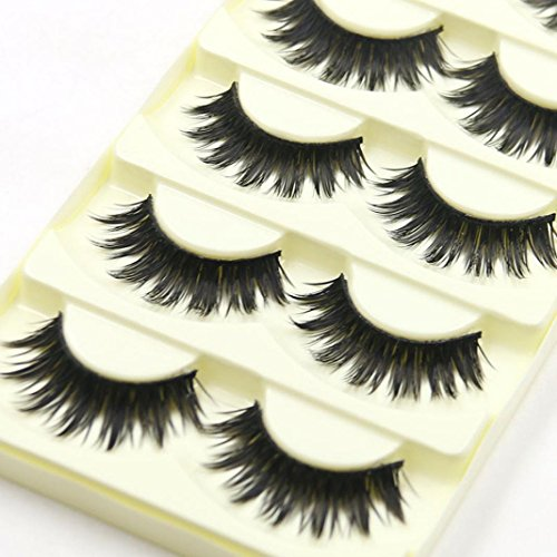 WYXlink 5 Paare dicke lange Cross Party falsche Wimpern Black Band Fake Eye Lashes (a)