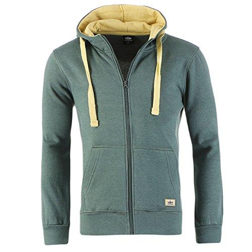 90K5 Finchman Herren Jacke Sweatshirt Hoodie Full Zip Kapuzen Grün Gr M (Full Hoodie Jacke Zip)
