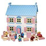Wooden Toy Doll House with 6 Happy Family Dolls & Pink Wooden Furniture | 20 Piece Hand-finished Children's 4 Room Set