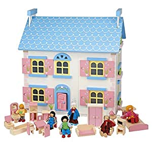 Clifford James Wooden Toy Doll House 6 Happy Family Dolls & Pink Wooden Furniture | 20 Piece Hand-finished Children's 4 Room Set