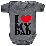 Vatertag Bester Papa Strampler Bio Baumwoll Baby Body kurzarm I LOVE MY DAD, Größe: 0-3 Monate,Heather Grey Melange