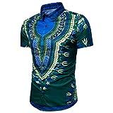 Herren Hemd Kurzarm Hemden Afrikanische Dashiki Grafische Hemd Shirt Männer Slim Fit Hemd Stehkragenhemd IM Ethno-Allover-Druck Sommer Top Hipster Hip Hop Hemd Freizeithemd T-Shirt (Green, M)