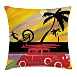 ziHeadwear Colorful Throw Pillow Cushion Cover, Classic Car Silhouette from Twenties with Surf Boards Driving Along Ocean Coast, Decorative Square Accent Pillow Case, Multicolor12