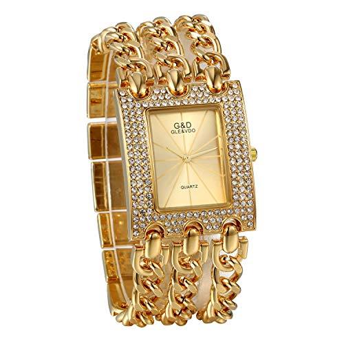 JewelryWe Damen Uhren Elegant Analog Quarz Armbanduhr Strass Rechteckig Beiläufige Uhr mit dreifach Panzerkette Armband Gold