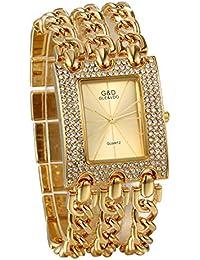 JewelryWe - Reloj de Pulsera de Mujer de Cuarzo, Correa Cuadrada con pedrería, Pulsera