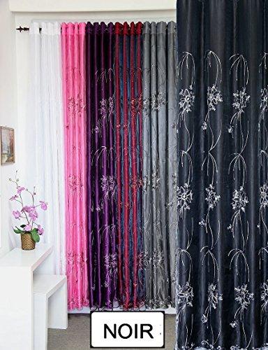 SUNDECO Vorhang + Vorhang 2in 1schwarz, Motiv Floral A Ösen -