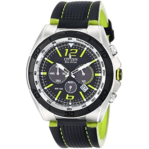 Citizen CA4144-01E Men's BRT Eco-Drive Black Dial Leather Strap Chronograph Watch - Citizen Eco Drive Mens Chronograph