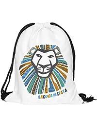 Bolsa Hakuna Matata León cabeza león King König Aztec Patrón Aztek Fullprint Allover yute Bolsa Hipster