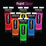 PaintGlow Bodypaint UV Neon Schwarzlicht Farben Set fluoreszierende Schminke - 6er Pack (6 x 13 ml) - kosmetisch zertifiziert - PARTYMARTY GMBH®