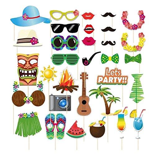 Dsaren Foto Requisiten, 60 Stück Party Photo Booth Props DIY Selfie Requisiten für Hawaii Strand Urlaub Hochzeit Dekoration (32 Stück)