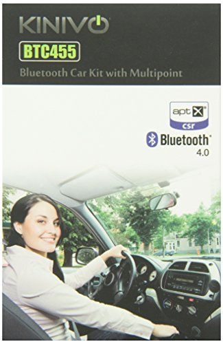 Kinivo BTC455 Bluetooth Hands-Free Car Kit for Cars with Aux Input Jack (3.5 mm) - Supports aptX and Multi-point Connectivity