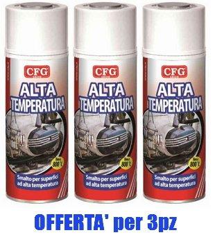Bombolette Spray Pz.3 NERO ALTE TEMPERATURE 400ml Acrilico Professionale -CFG-