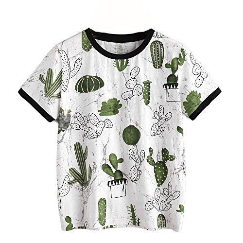 Kurzarmhemd Damen, ❤️DoraMe Frauen Kaktus Druck T-Shirt Bluse Frühling Sommer Tops Printed Rundhals Shirt Mode Neue Pullover Casual Sweatshirts (Weiß, Asien Größe XL) (Frühling Marc-stil)