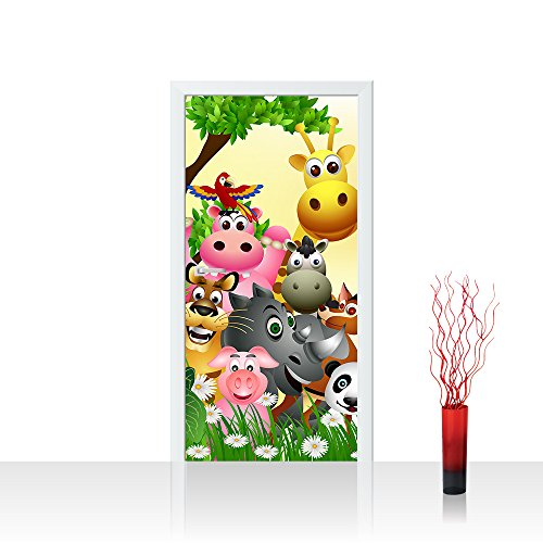 Türtapete selbstklebend 100x211 cm PREMIUM PLUS Tür Fototapete Türposter Türpanel Foto Tapete Bild - JUNGLE ANIMALS PARTY - Kinderzimmer Kindertapete Dschungel Zoo Tiere Giraffe Löwe Affe - no. 013