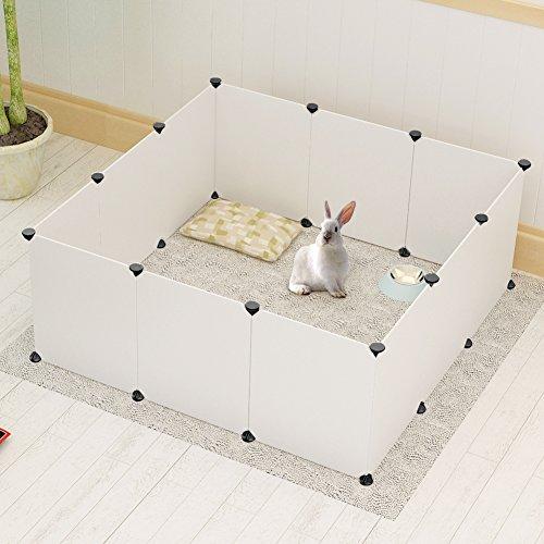 Koossy DIY Freigehege erweiterbarer Laufstall Welpenauslauf für Kleintiere Wie Hase, Kaninchen, Meerschweinchen, Katze und Welpe, Weiß (12 Platte) (Misc.)