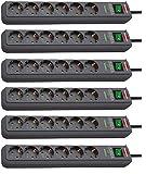 Brennenstuhl Eco-Line, Steckdosenleiste 6-fach mit Überspannungsschutz (mit Schalter und 1,5m Kabel - besonders stromsparend) Farbe: anthrazit (6 Stück)