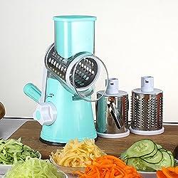 LEKOCH Manuelle Multi Gemüseschneider Gemüsehobel Trommelreibe Käsemühle Mit 3 Edelstahl Trommeleinsätze (Blau)