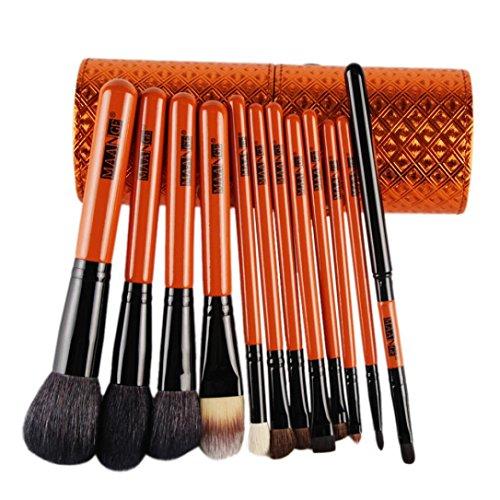 Cylindrique pinceaux maquillage 15Pcs+1 Sac cosmétiques----HUI.HUI Pinceaux Sets Maquillage Brosse Make Up Pour Beauté Premium Fondation Mélange Blush Les LèVres Yeux Visage Poudre Cosmétiques (Orange)